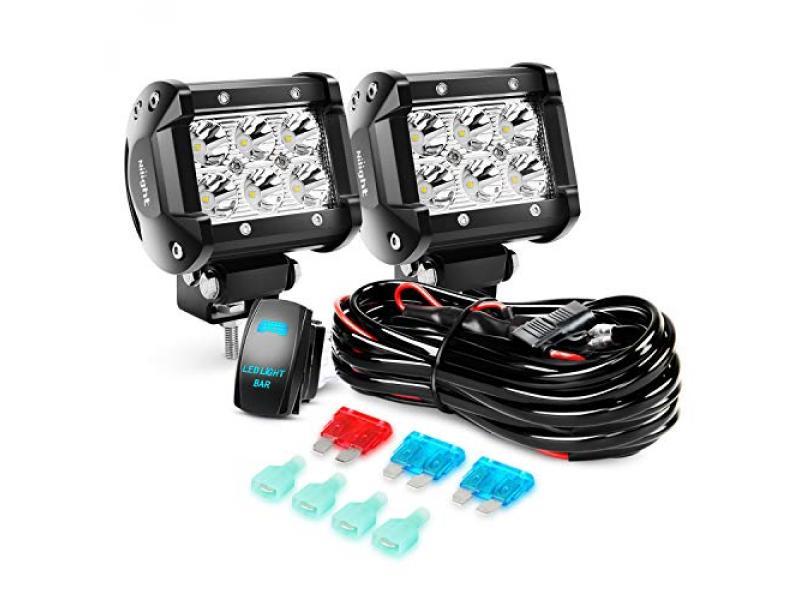 Nilight LED Light Bar 2PCS 18W Spot Led Off Road Lights 12V 5Pin Rocker Switch LED Light Bar Wiring Harness Kit