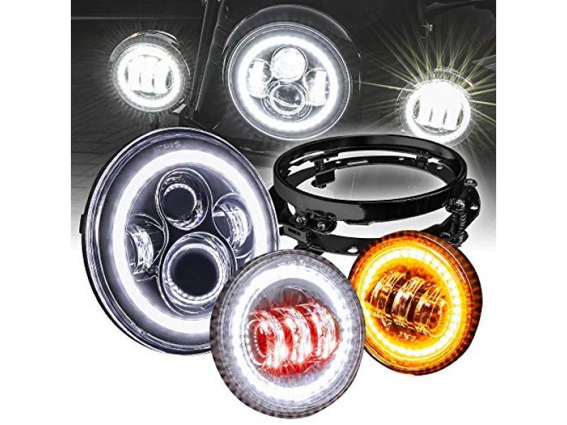 7 CREE LED Harley Headlight + 4.5 Passing Light + Mounting Bracket [Black-Finish] [HALO DRL] [Plug and Play] Head Light