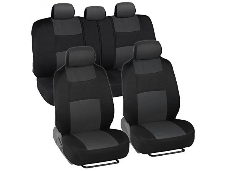 BDK PolyPro Car Seat Covers, Full Set in Charcoal on Black
