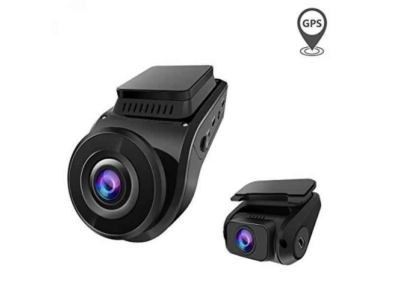 Dual 1080P Front and Rear Car Camera with Built in GPS Speed