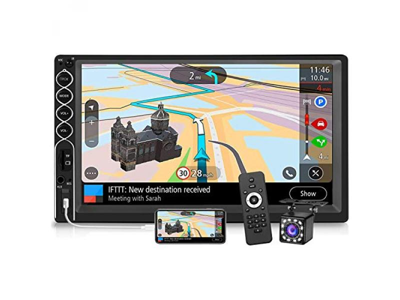 Double Din Stereo 7 Inch Touchscreen Car Radio with Backup Camera