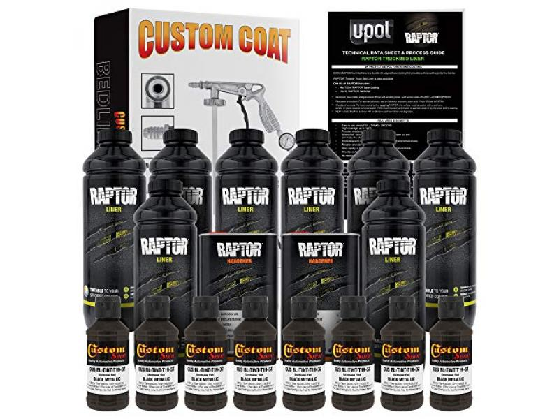 U-Pol Raptor Black Metallic Urethane Spray-On Truck Bed Liner Kit