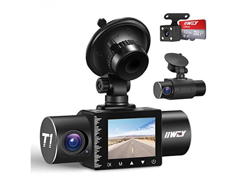 iiwey Dash Cam Front Rear and Inside 1080P