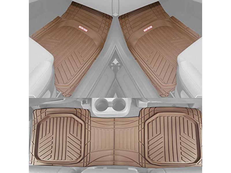 Motor Trend FlexTough Plus Beige Rubber Car Floor Mats