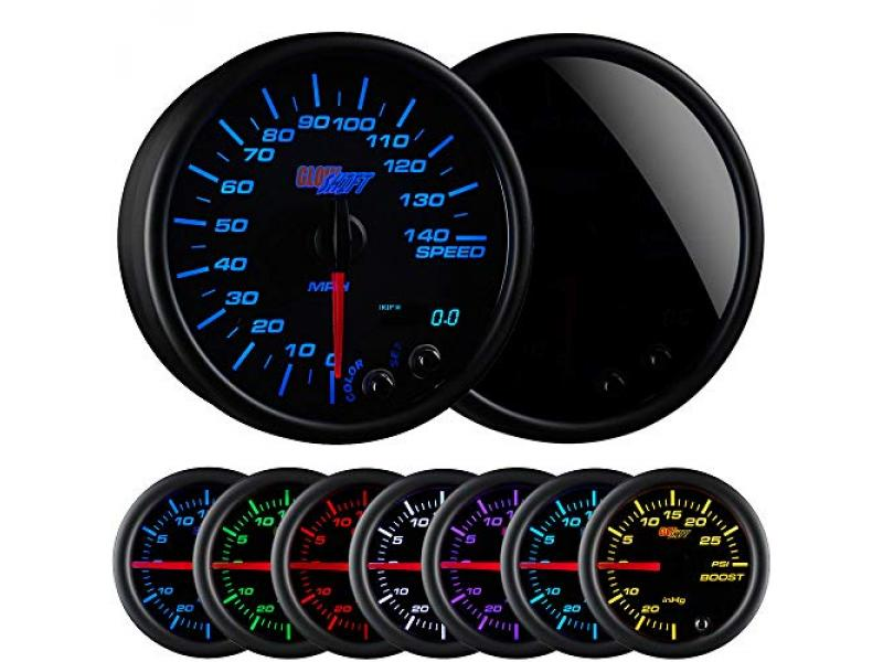 GlowShift Tinted 7 Color 140 MPH Speedometer Gauge