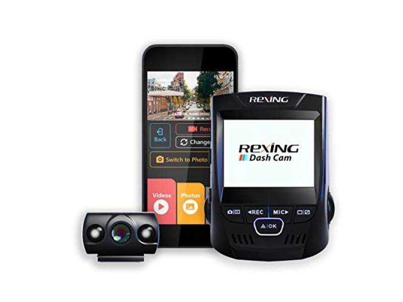 Rexing V1P 2.4 LCD FHD 1080p 170 Degree Wide Angle Dual Channel Dashboard Camera
