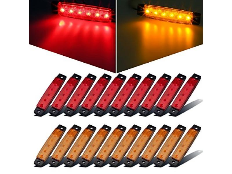 Partsam 20x 3.8 Amber/Red Clearance Lights