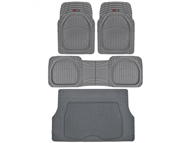 Motor Trend Original FlexTough Gray Rubber Car Floor Mats with Cargo Liner