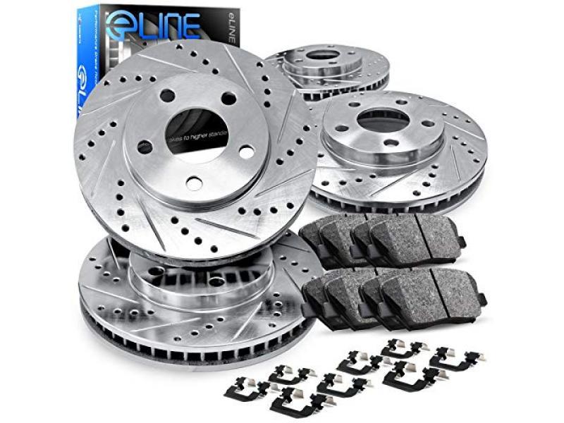 Concepts eLine Front Rear Drill/Slot Brake Rotors Kit + Ceramic Brake Pads