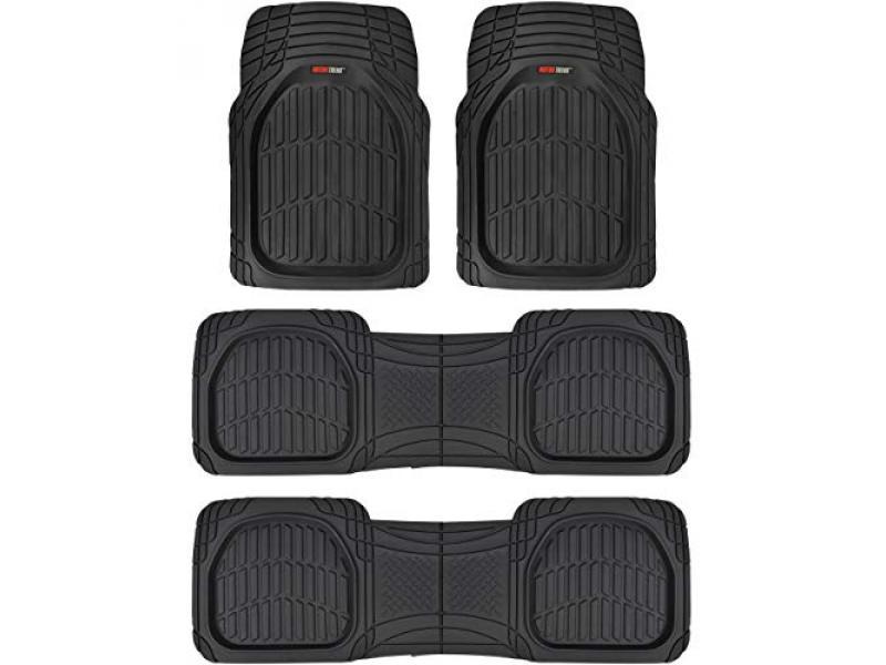 Motor Trend Original FlexTough Black Rubber Car Floor Mats