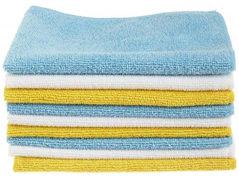 Amazon Basics Blue, White, and Yellow Microfiber Cleaning Cloth
