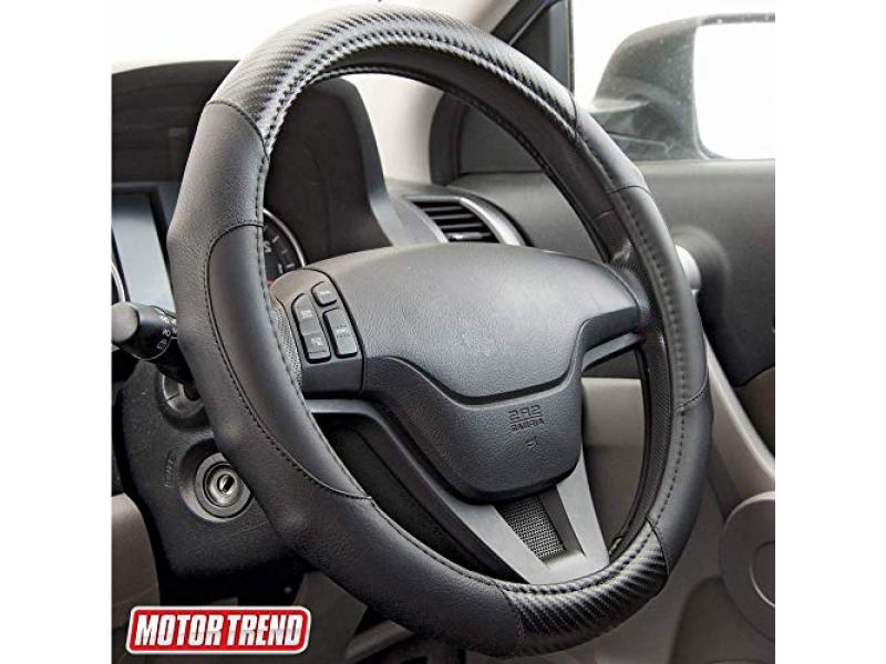 Motor Trend GripDrive Carbon Fiber and Leather Steering Wheel Cover