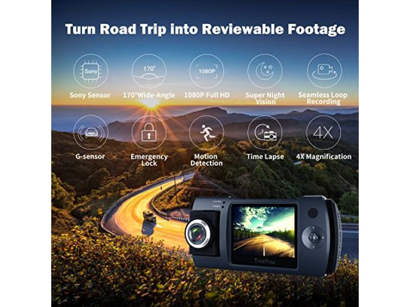 Dash Cam, Trekpow by ABOX HD 1080P Car DVR Dashboard Camera with 180°Rotation for Front and Cabin