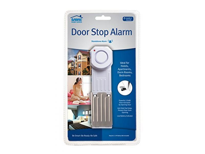 SABRE Wedge Door Stop Security Alarm with 120 dB Siren or SABRE Home Series Adjustable Door Security Bar