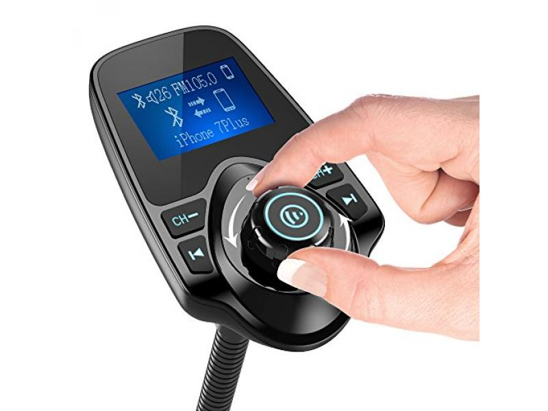 Nulaxy Wireless In-Car Bluetooth FM Transmitter Radio Adapter Car Kit W 1.44 Inch Display