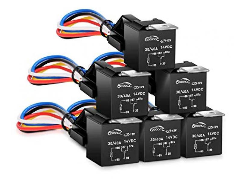 6 Pack Automotive Relay Harness Set 5-Pin 30/40A 12V SPDT with Interlocking Relay Socket and Harnesses