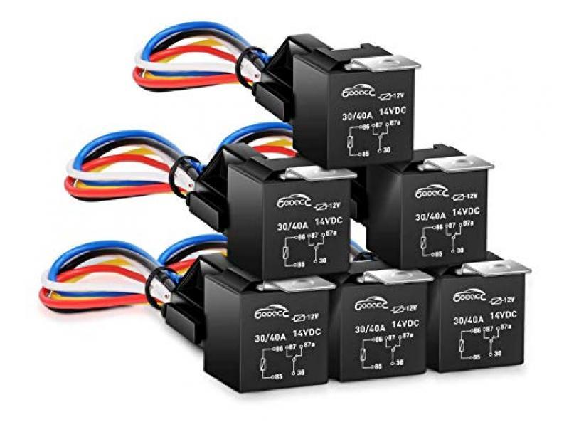 GOOACC - G-RE6 6 Pack Automotive Relay Harness Set 5-Pin 30/40A 12V SPDT with Interlocking Relay Socket and Harnesses