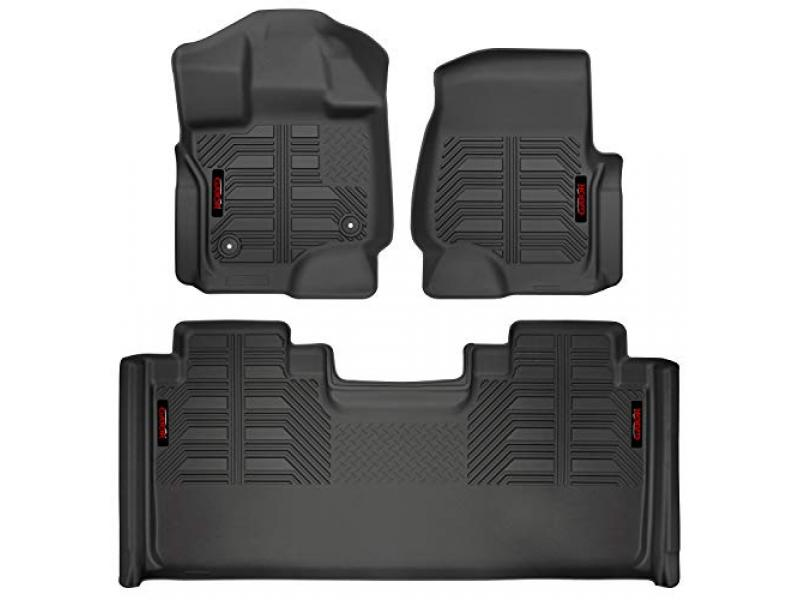 Black Front and 2nd Seat Floor Liners Fits 2015-20 Ford F-150 SuperCab