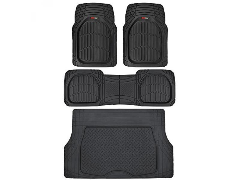 Motor Trend Original FlexTough Black Rubber Car Floor Mats with Cargo Liner