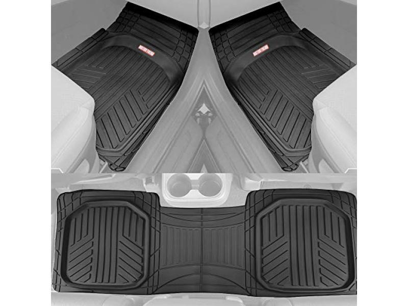 Motor Trend FlexTough Plus Black Rubber Car Floor Mats