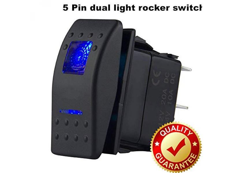 12V Rocker Switch Blue Led Light On Off Switch