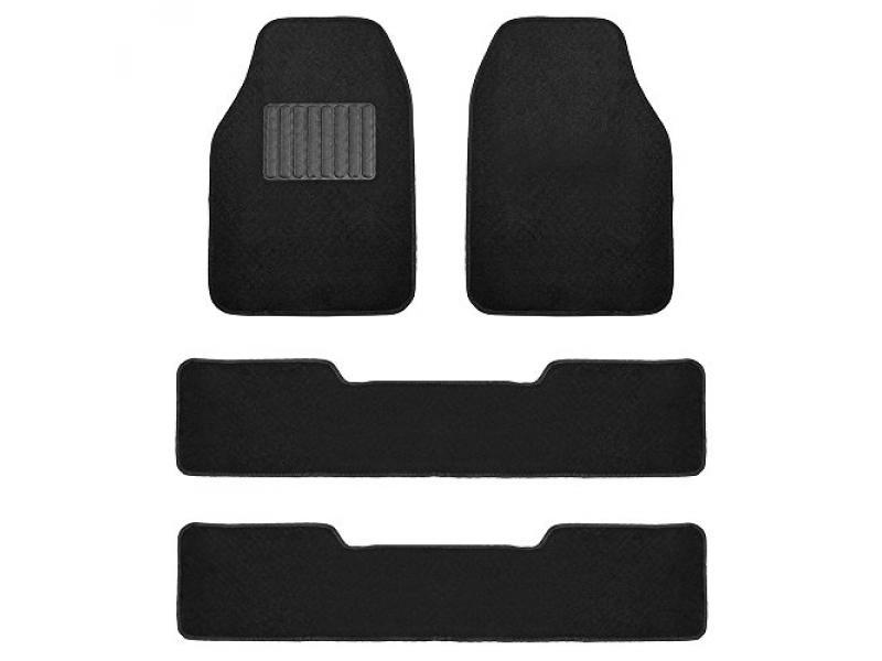 Black- 3 Row Premium Carpet Floor Mats with Drivers Heel Pad