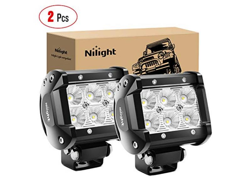 Nilight - 60001F-B Led Pods 2PCS 18W 1260LM Flood Led Off Road Lights