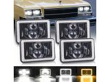 SEUYA 4x6 LED Headlights High Low Beam with White Halo