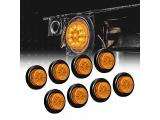 8pc 2 Amber Round Trailer LED Clearance Marker Lights