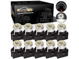 Partsam T10 194 168 Dash Instrument White LED Light Bulbs