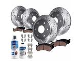 Detroit Axle - Front Rear Drilled & Slotted Rotors + Ceramic Brake Pads w/Brake Fluid Replacement