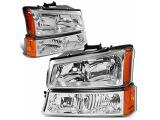 DNA Motoring HL-OH-CS03-4P-CH-AM Chrome Amber Headlights Replacement For 03-06 Avalanche SIlverado