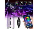 UALAU 72 LED Interior Car Lights, USB Car LED Lights APP Controller Party Light Bar Sync to Music