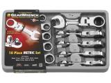 GEARWRENCH 10 Pc. 12 Pt. Stubby Flex Head Ratcheting Combination Wrench Set