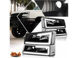 LED DRL Bumper Headlight Compatible with Chevy Silverado/Avalanche 03-07 Headlamps