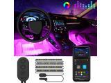 MINGER Unifilar Car LED Strip Light, 4pcs 48 LED APP Controller Car Interior Lights