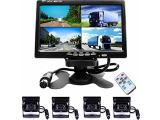 Camecho Vehicle Backup Camera 7 Inch 4 Split Monitor+ 4 Cameras with Front View, Rear View 18 IR Night Vision